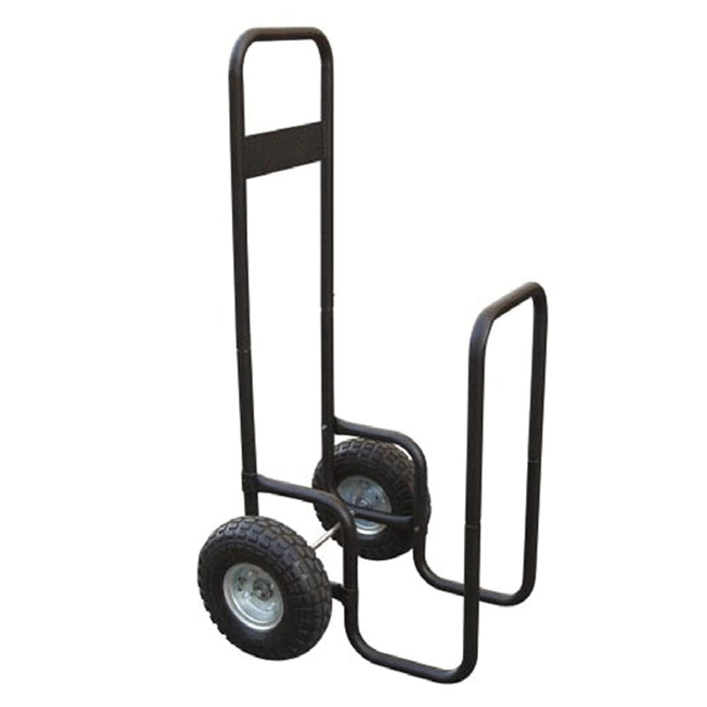 Cărucior de transport pentru lemn, cu roţi, fier forjat, negru, RATER