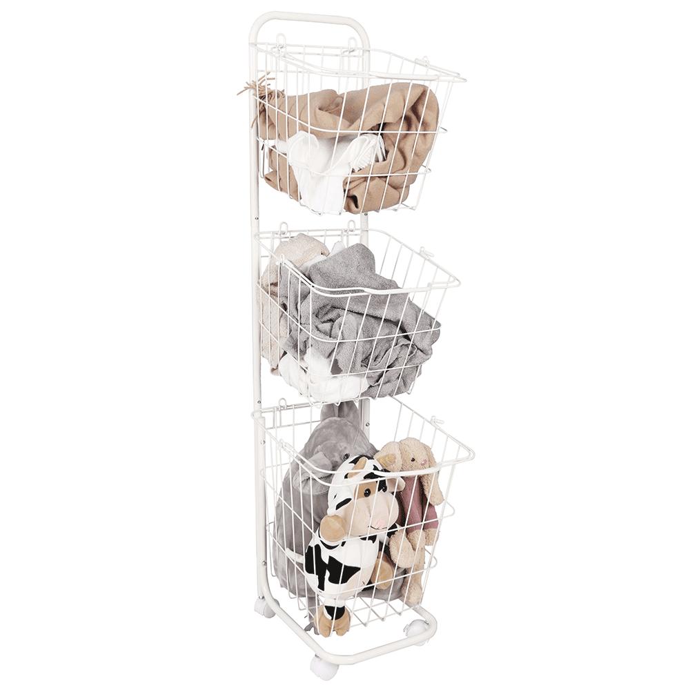 Viacúčelový regál s košíkmi, biely kov, ARODO
