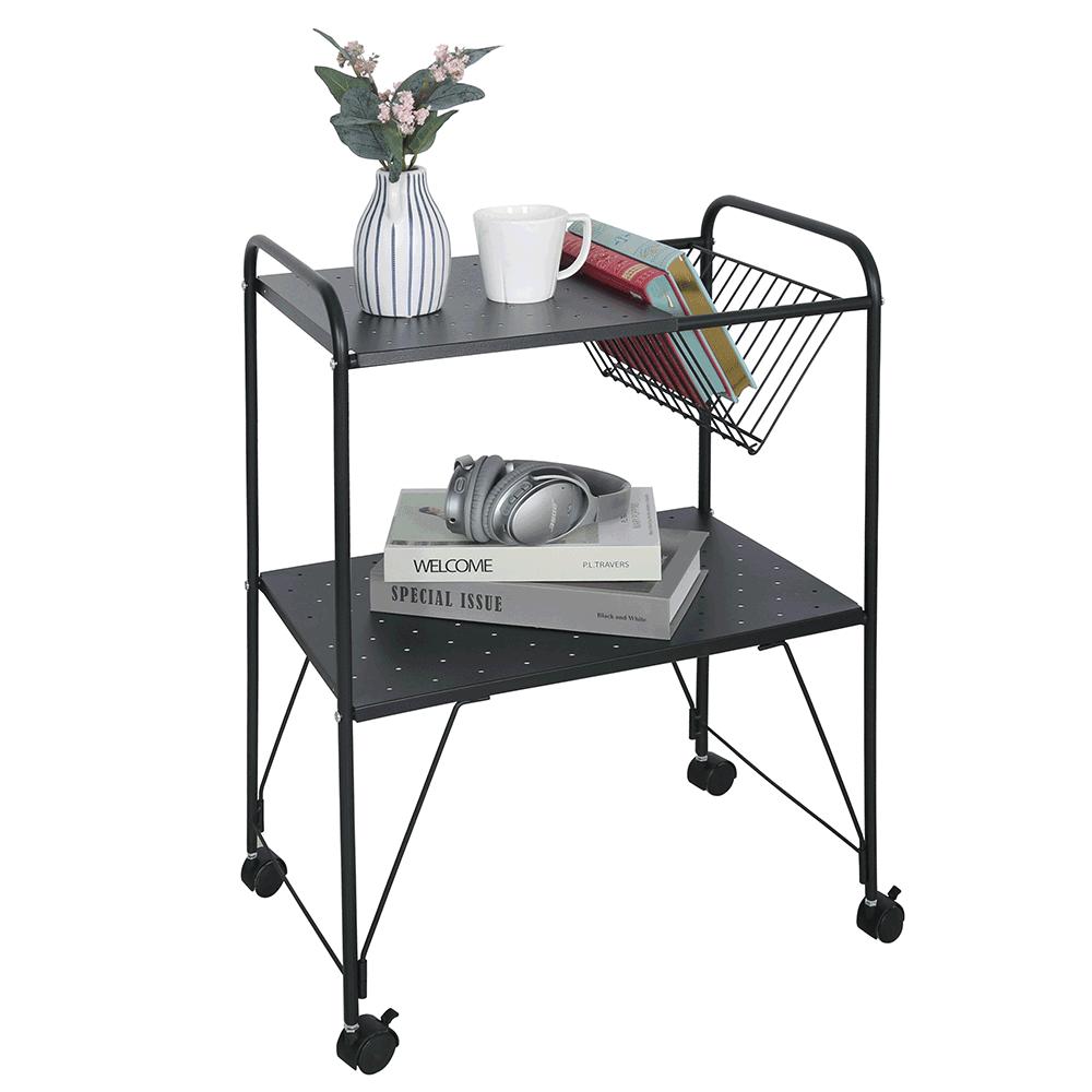 Príručný stolík pojazdný, viacúčelový, kov/plast, čierna, KORETE
