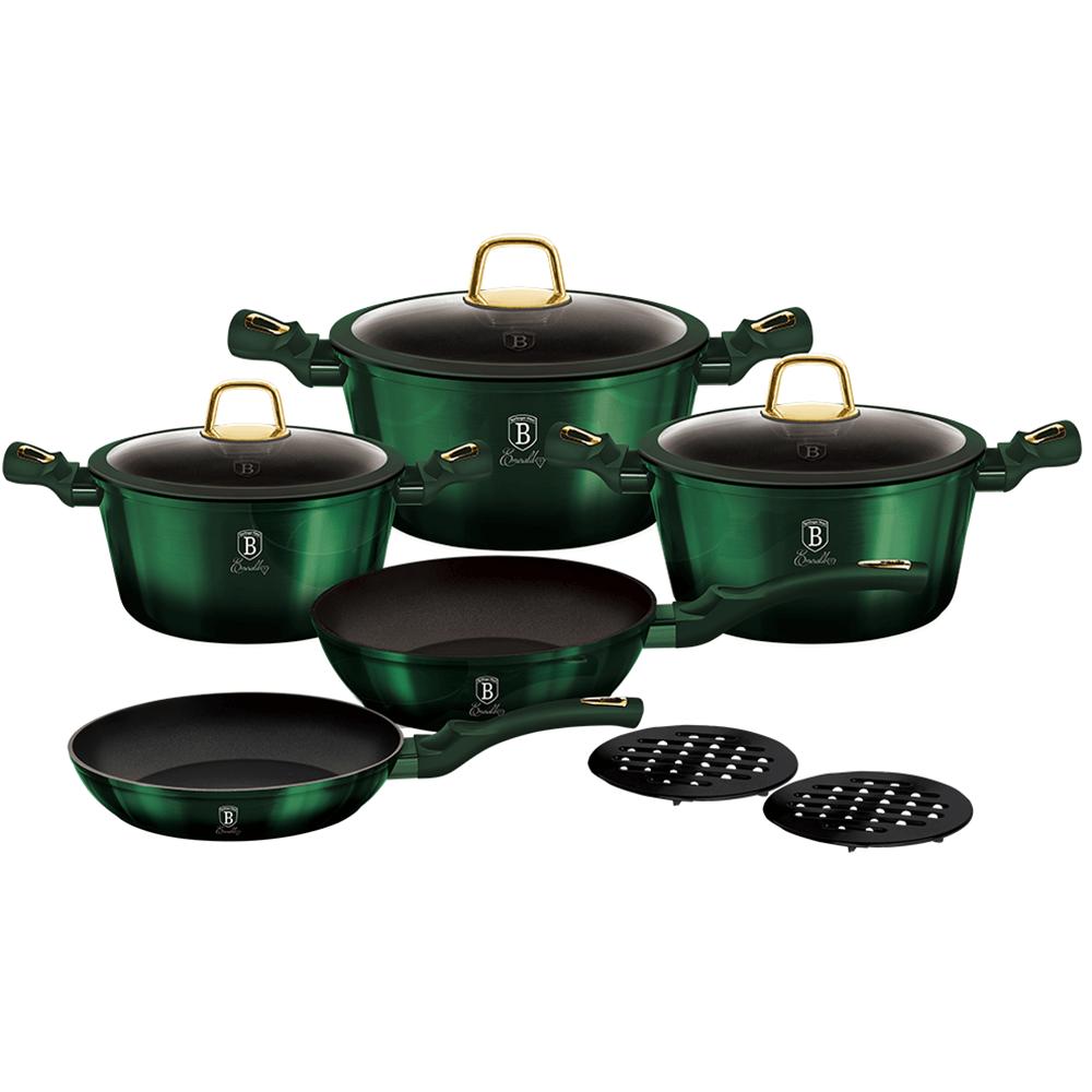 10-dielna sada hrncov, metalická zelená Emerald, BERLINGERHAUS BH-6065