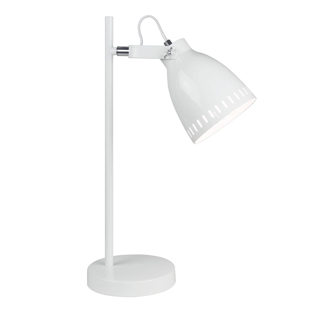 Stolná lampa, biela/kov, AIDEN TYP 1