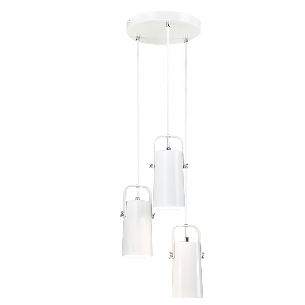 Lampă suspendată, albă / metalică, DEVAN