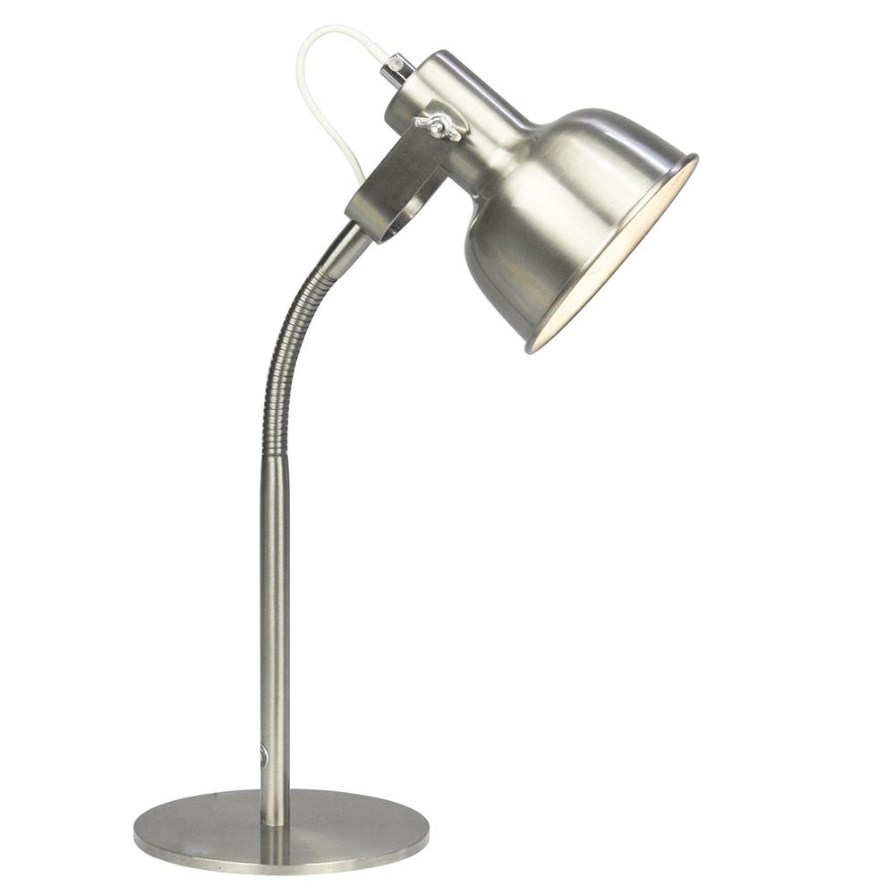 Stolná lampa v retro štýle, kov, matný nikel, AVIER TYP 1
