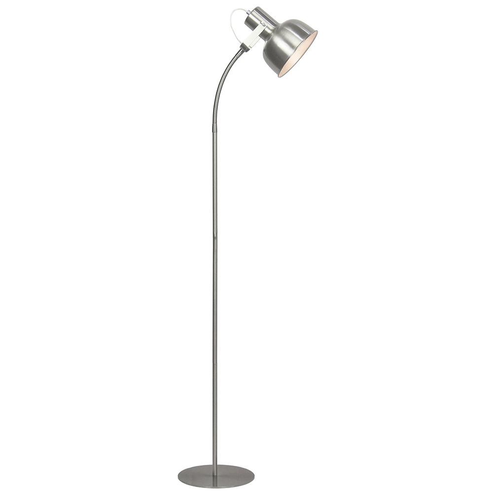 Stojací lampa v retro stylu, kov, matný nikl, AVIER TYP 2, TEMPO KONDELA