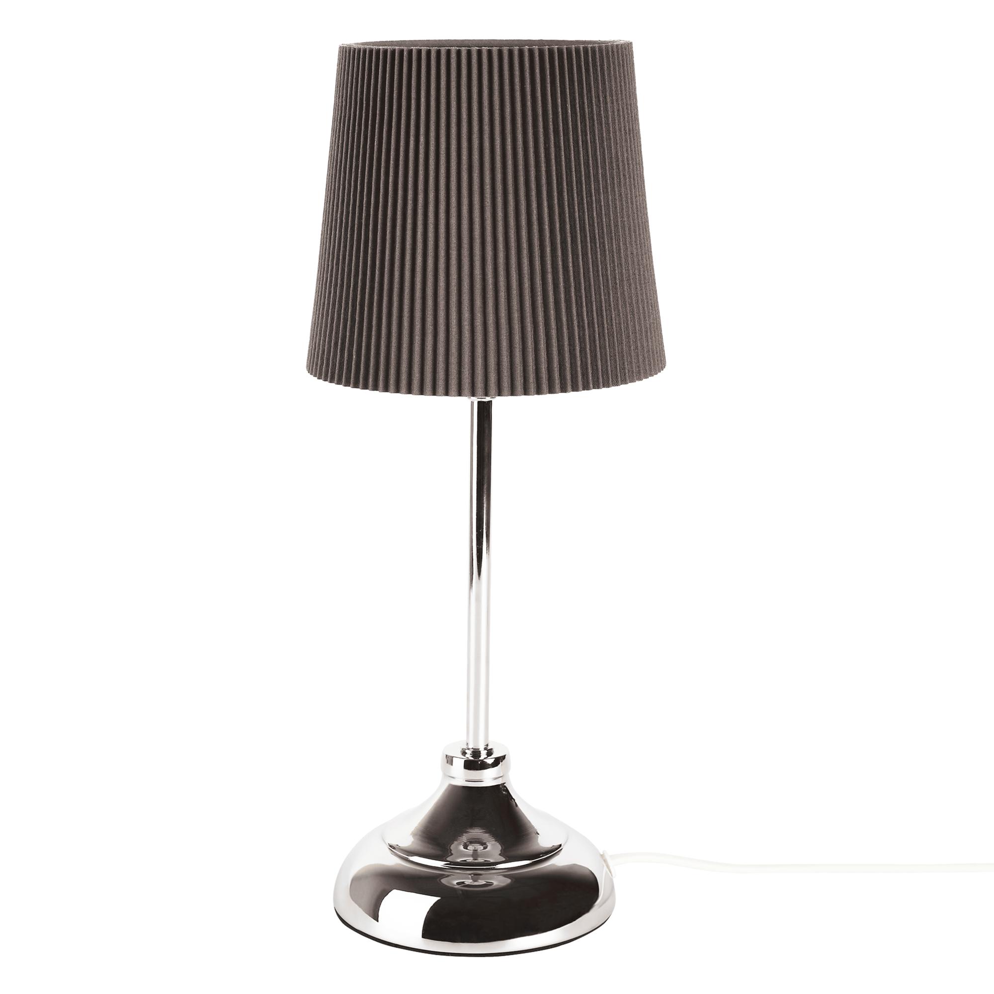 Stolná lampa, kov/sivé textilné tienidlo, GAIDEN