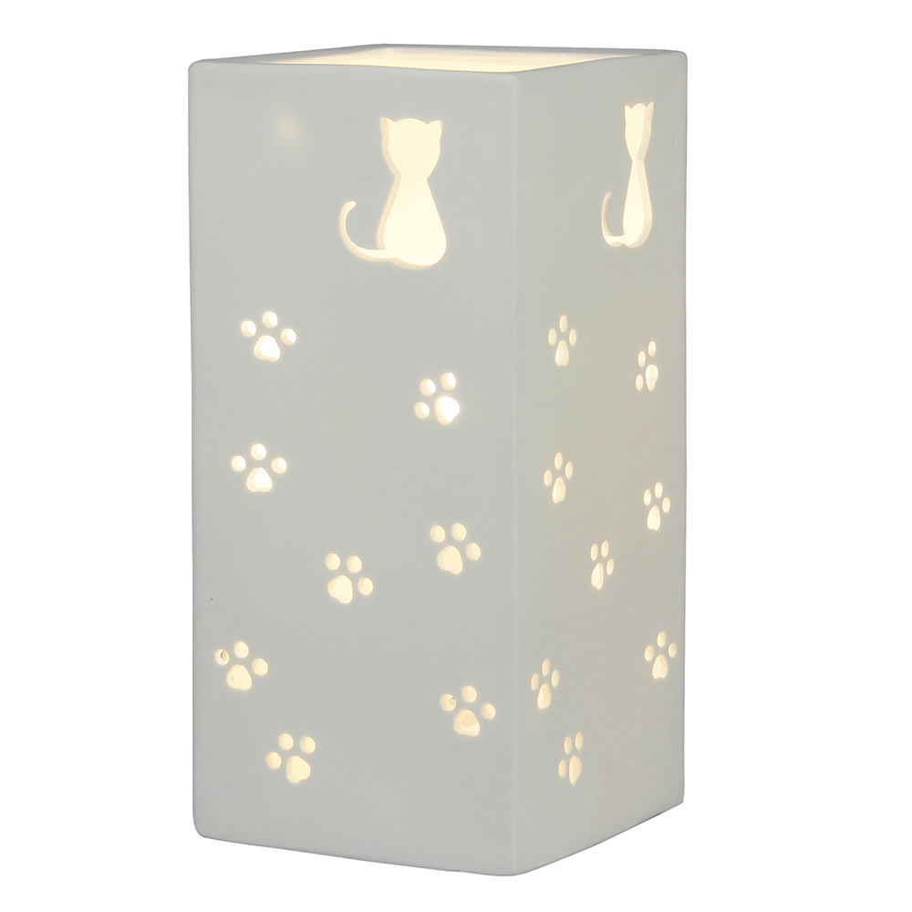 Stolná lampa, biela/vzor mačky, BELLE TYP 2
