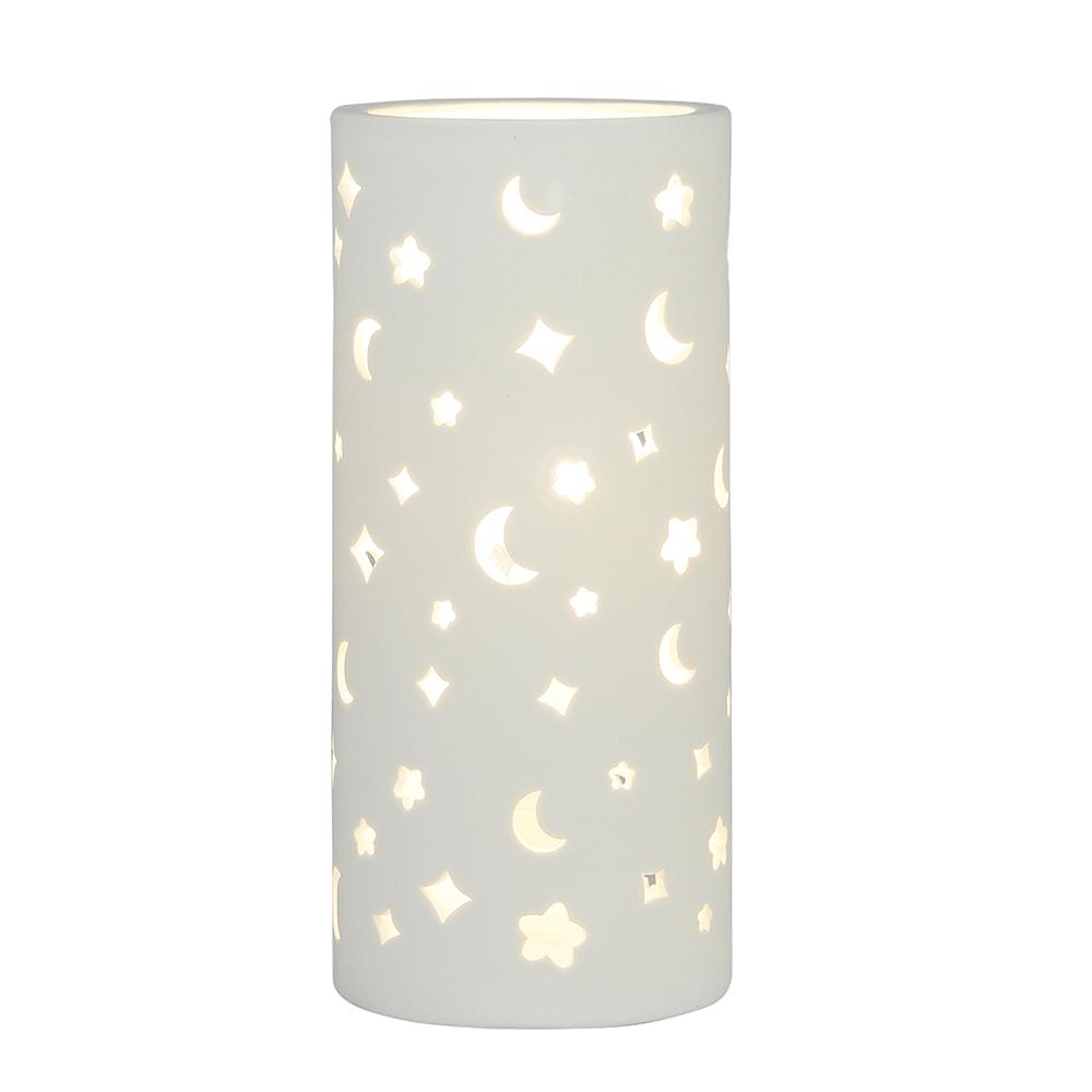 Lampă de masă din ceramică, model alb / lună, DANAR