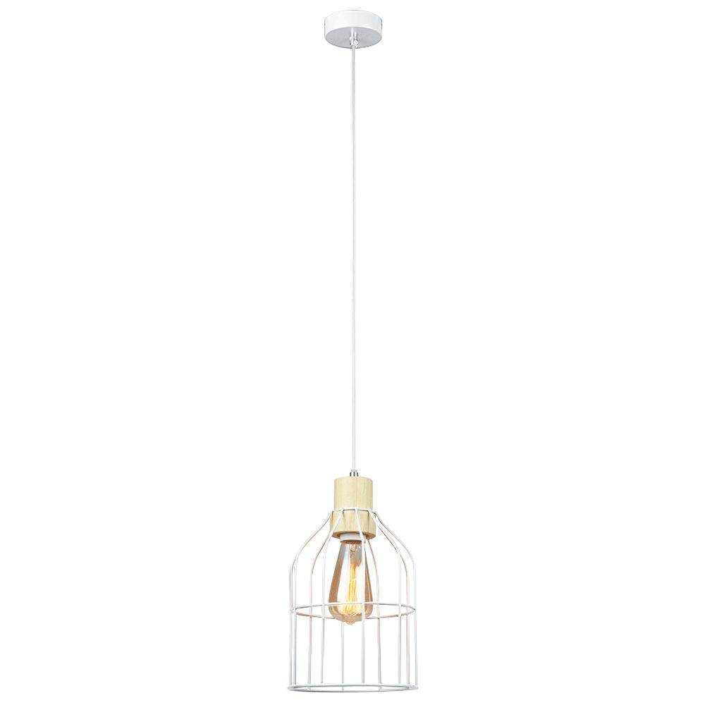 Lampă suspendată, albă / metalică, ASTOK