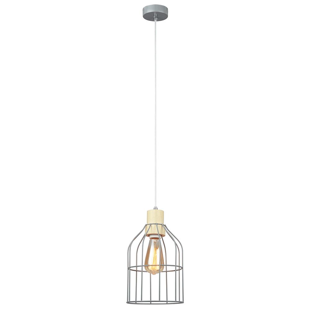 Lampă suspendată, gri / metal, ASTOK