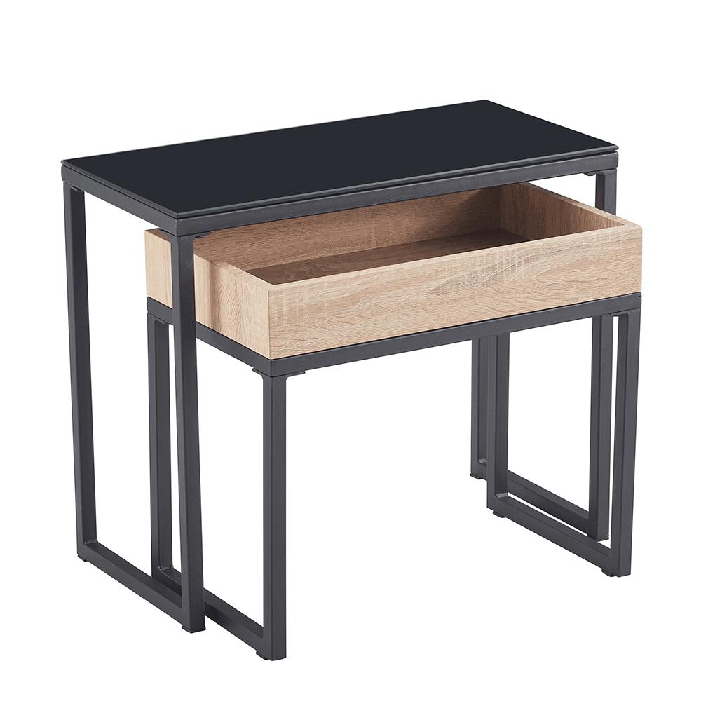Konferenčné stolíky, set 2 ks, dub/čierna, DAGOR