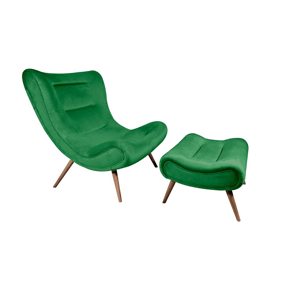 Křeslo s podnoží, zelená Velvet látka / kaučukové dřevo, KIRILO, TEMPO KONDELA