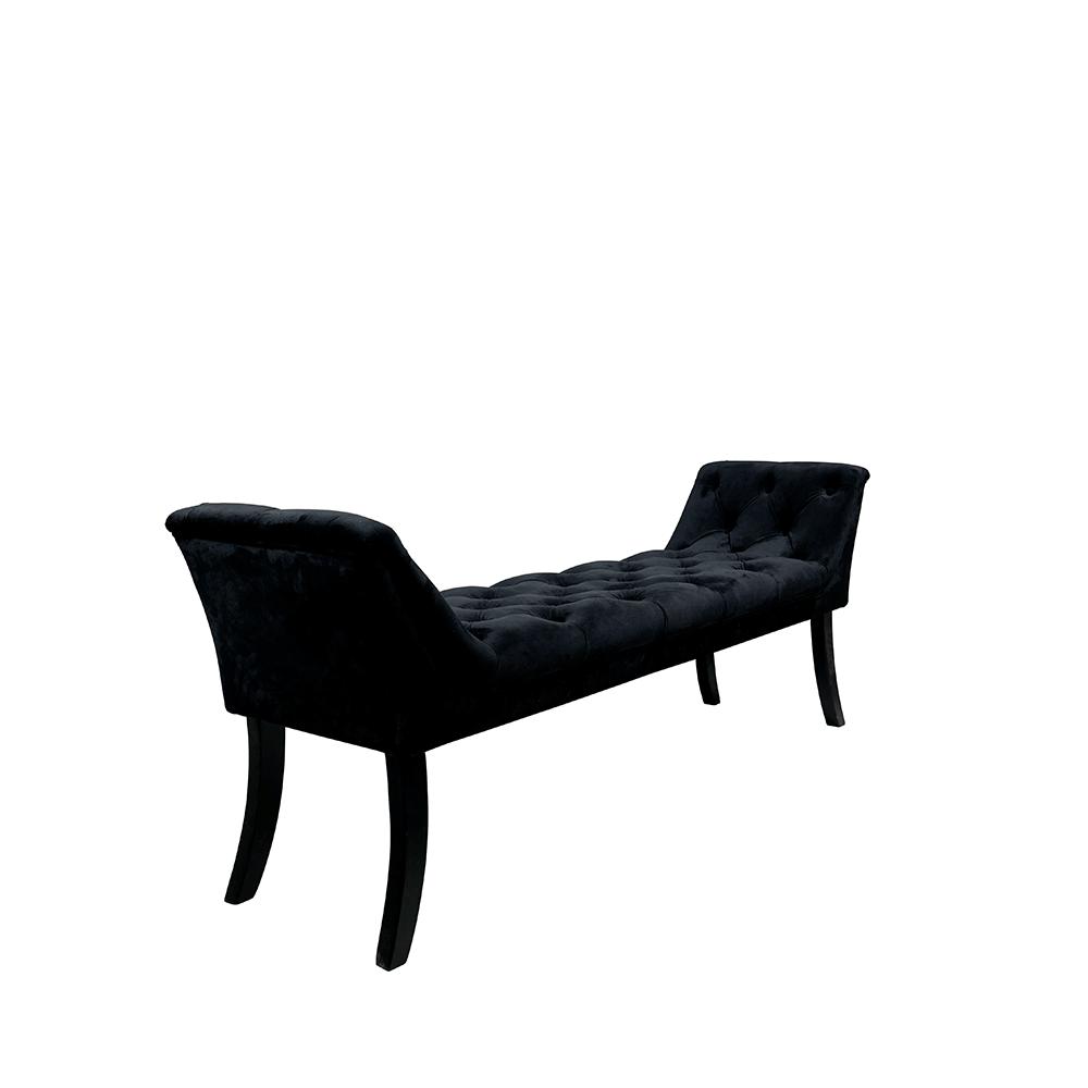 Dizajnová lavica, čierna Velvet látka/kaučukové drevo, HEMY