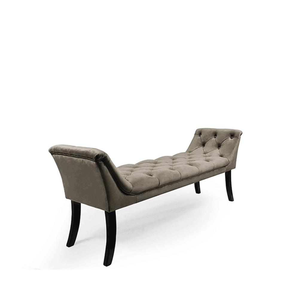 Dizajnová lavica, olivovozelená Velvet látka/kaučukové drevo, HEMY