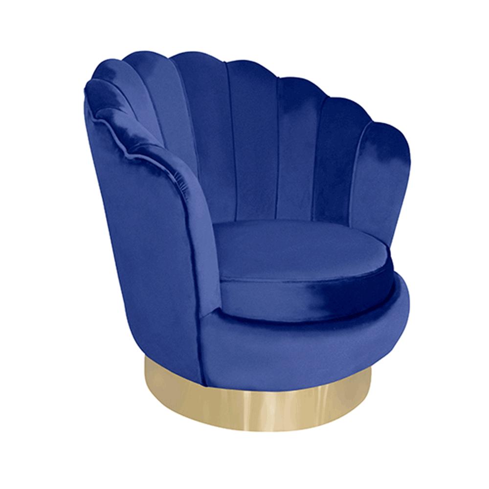 Forgó dizájn fotel, kék Velvet szövet/arany, ROLIO