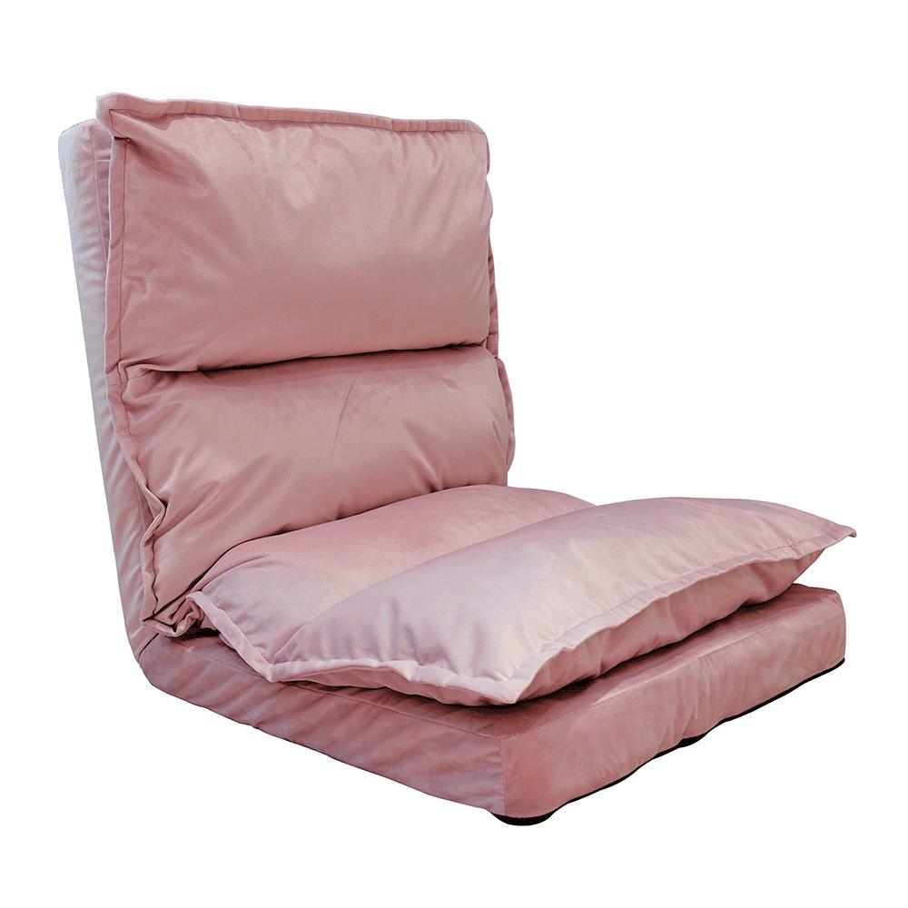 Şezlong pliant pe podea, ţesătură de catifea roz deschis, ULIMA
