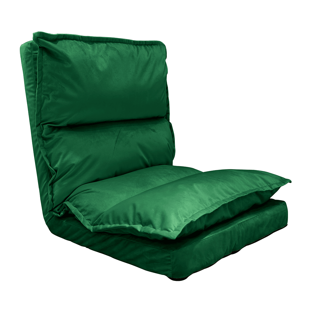 Şezlong pliant pe podea, ţesătură de catifea verde, ULIMA