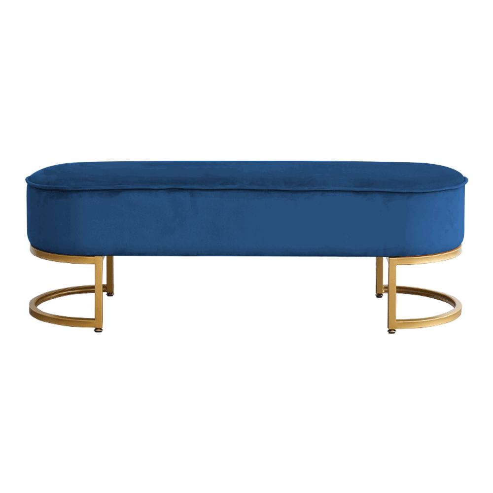 Dizajnová lavica, modrá Velvet látka/gold chróm-zlatý, MIRILA