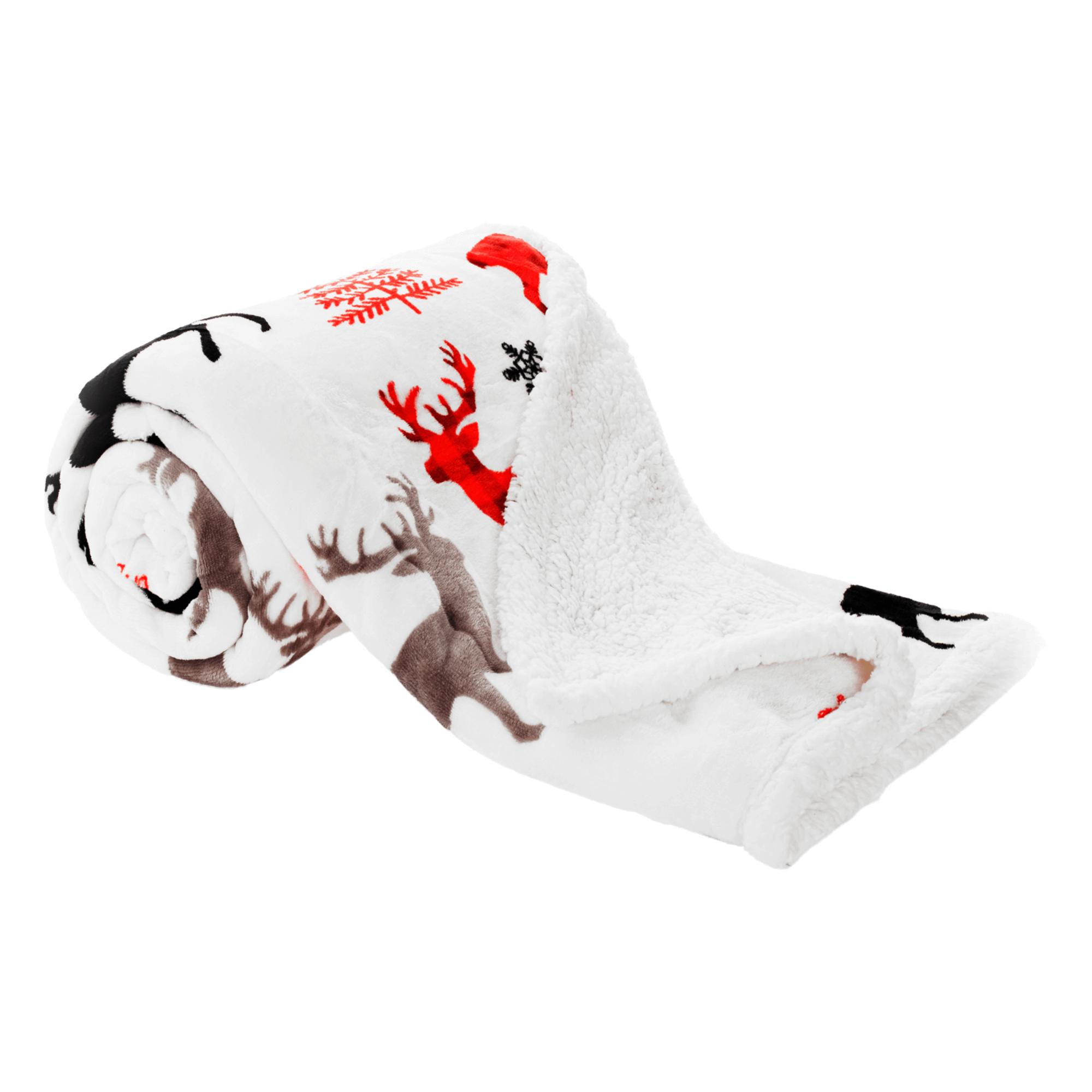 Pătură blăniță față-verso, alb, motiv de iarnă, 150x200, ANIME