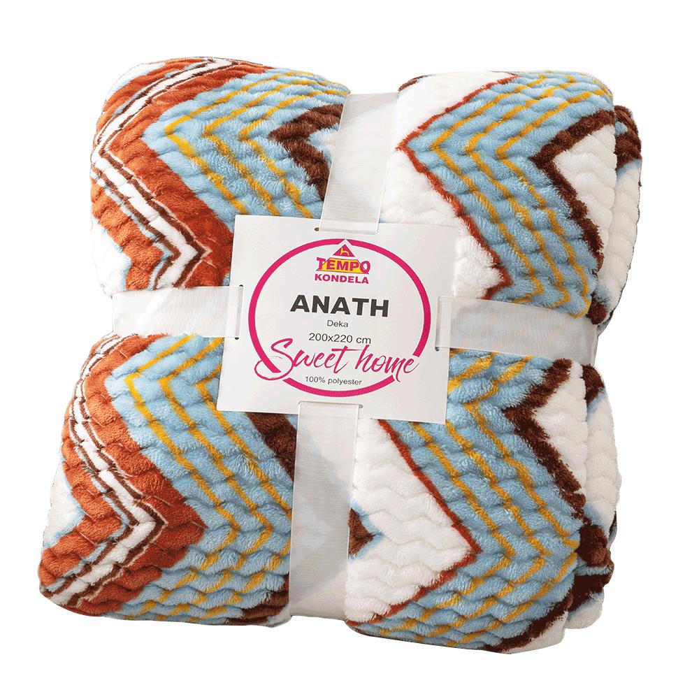 Pătură blăniță față-verso, alb, model color, 200x220, ANATH
