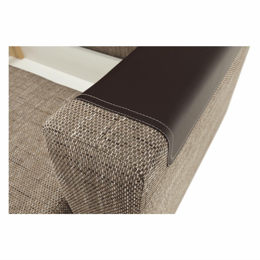 Ülőgarnitúra, bronz zsenília berlin/barna textilbőr, BONA NEW