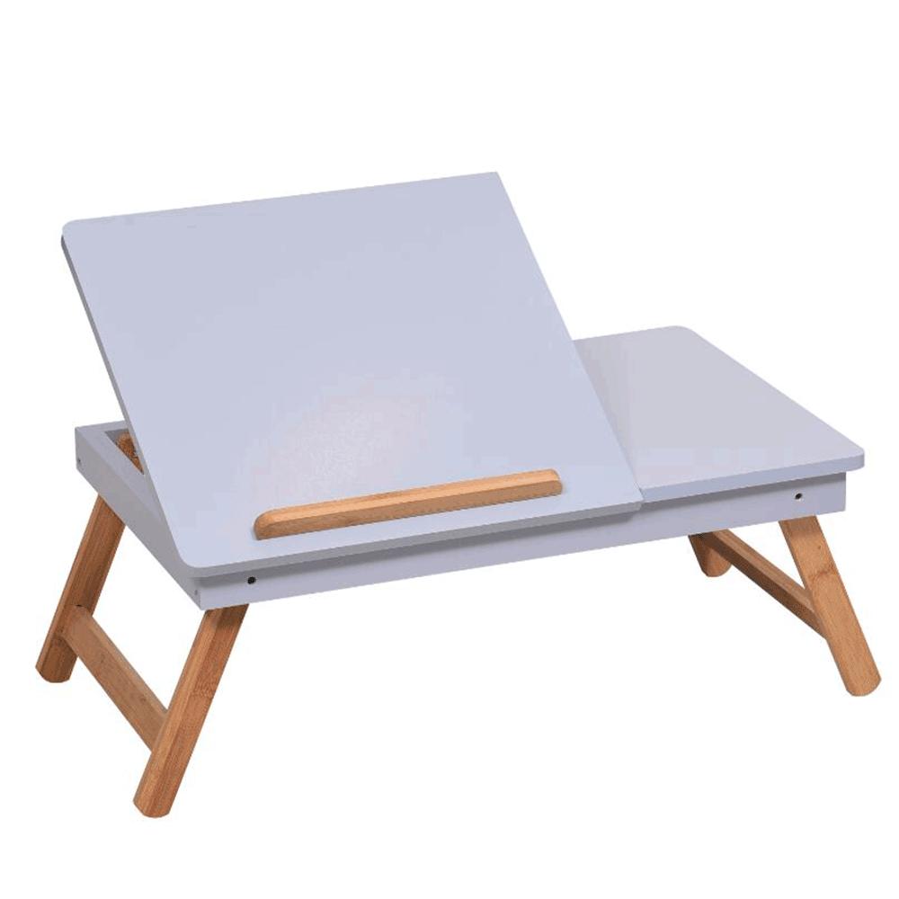 Masă pliabilă pentru laptop, bambus alb / natural, MELTEN