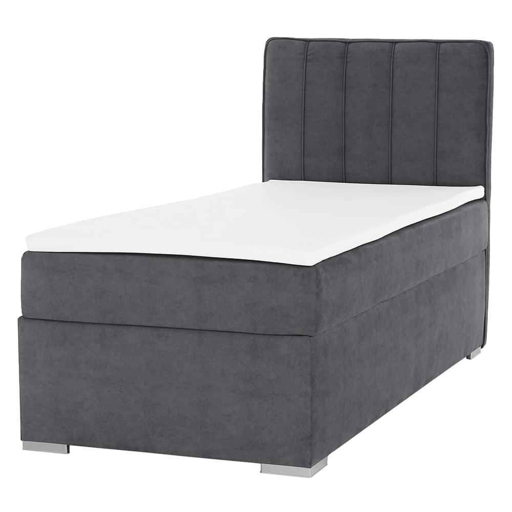 Boxspring ágy, egyszemélyes, szürke, 90x200, jobbos, AMIS