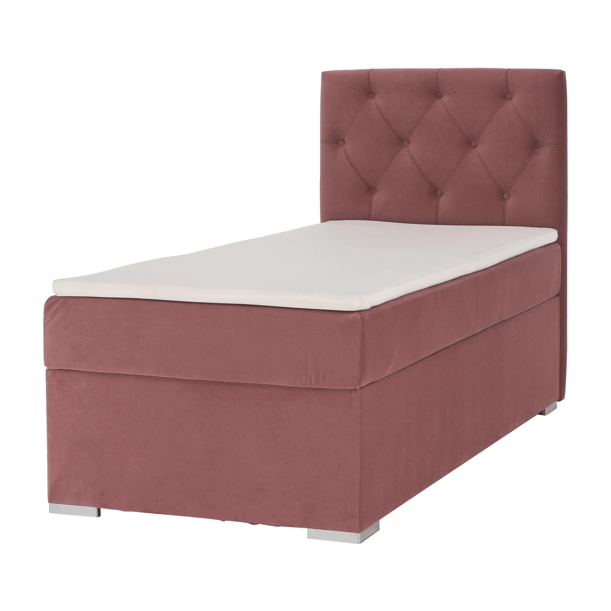 Pat boxspring, pat de o persoană, roz antic, 80x200, dreapta, ESHLY