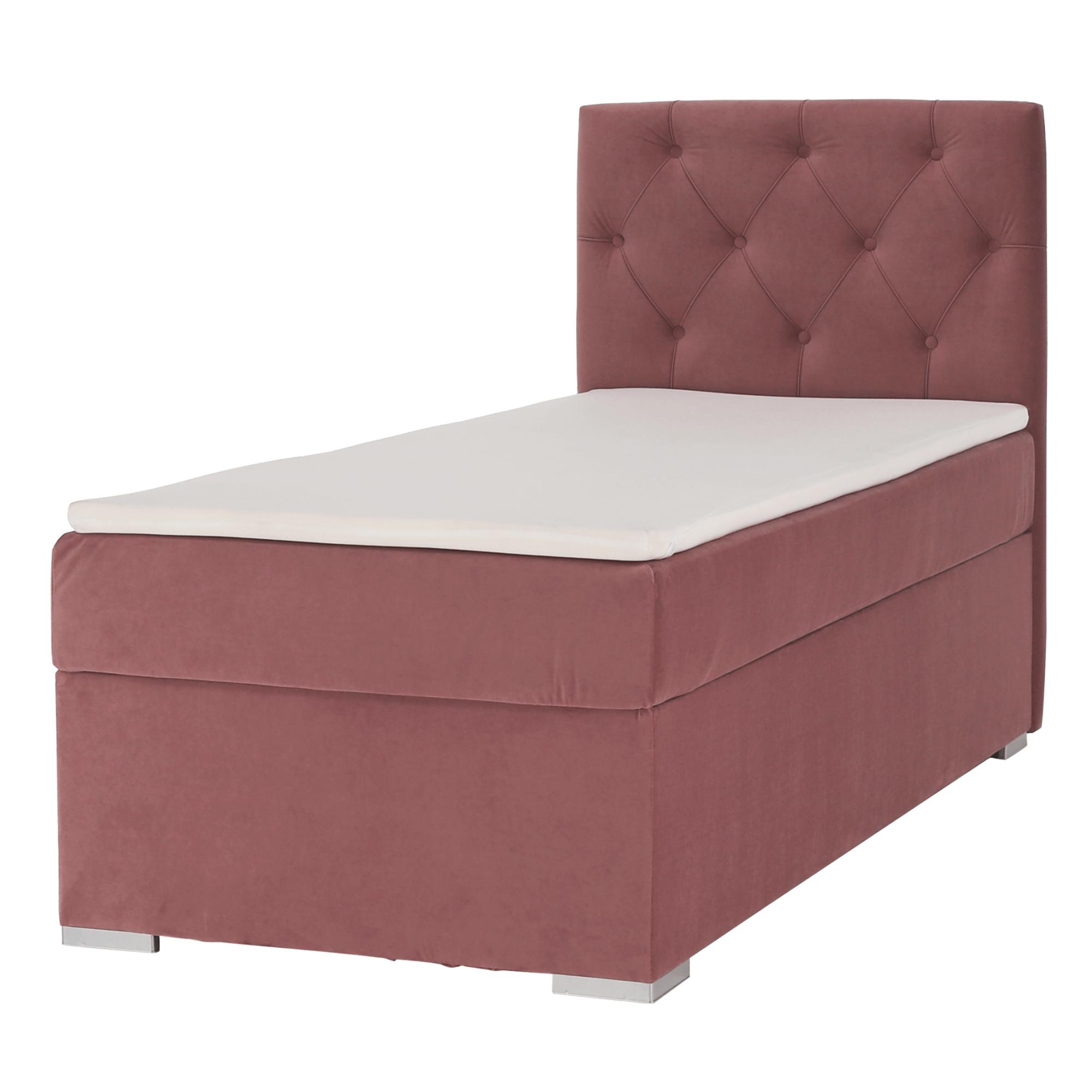 Pat boxspring, pat de o persoană, roz antic, 90x200, dreapta, ESHLY