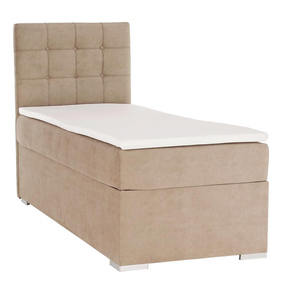 Boxspring ágy, egyszemélyes, világosbarna, 90x200, balos, DANY