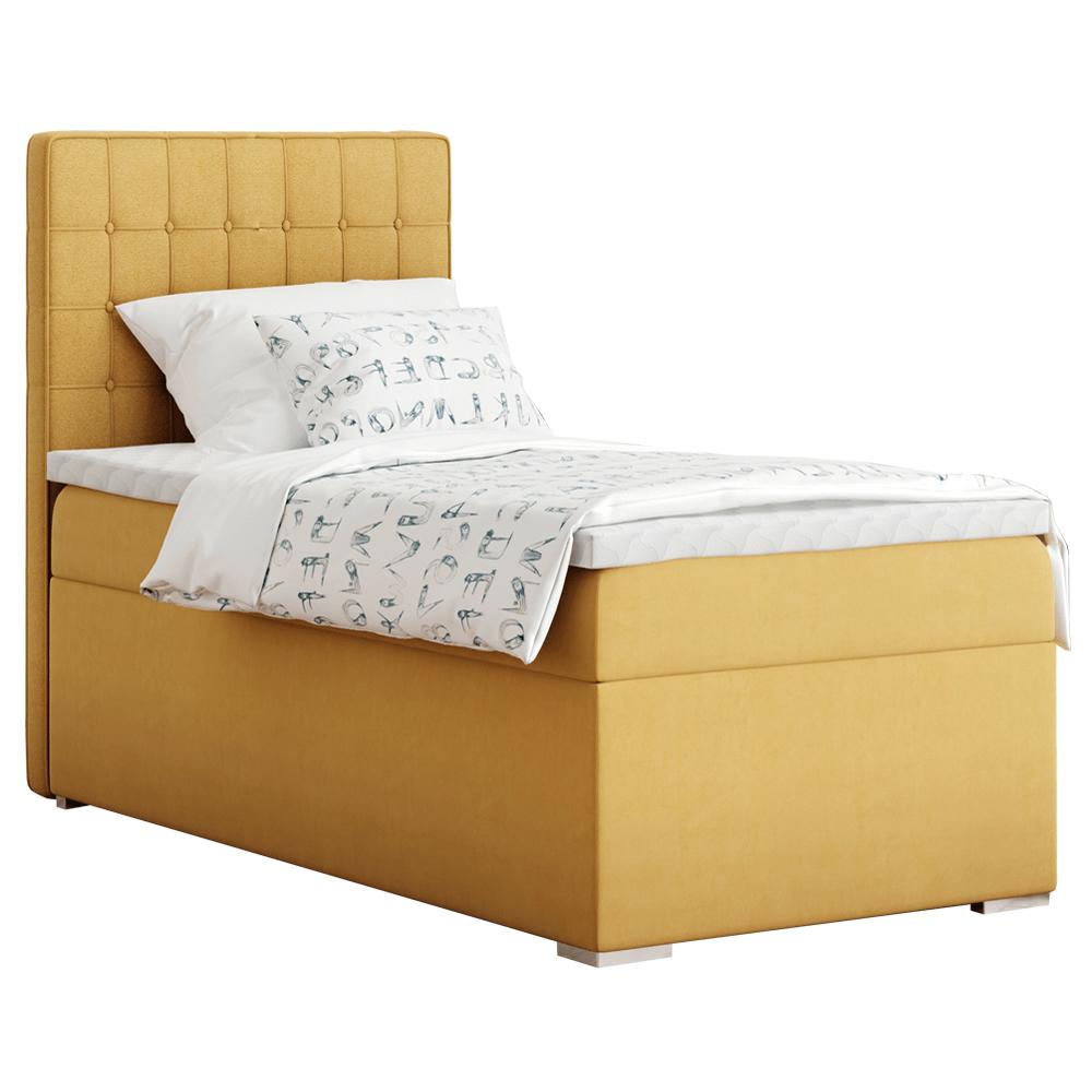 Boxspring ágy, egyszemélyes, mustár színű, 90x200, balos, TERY