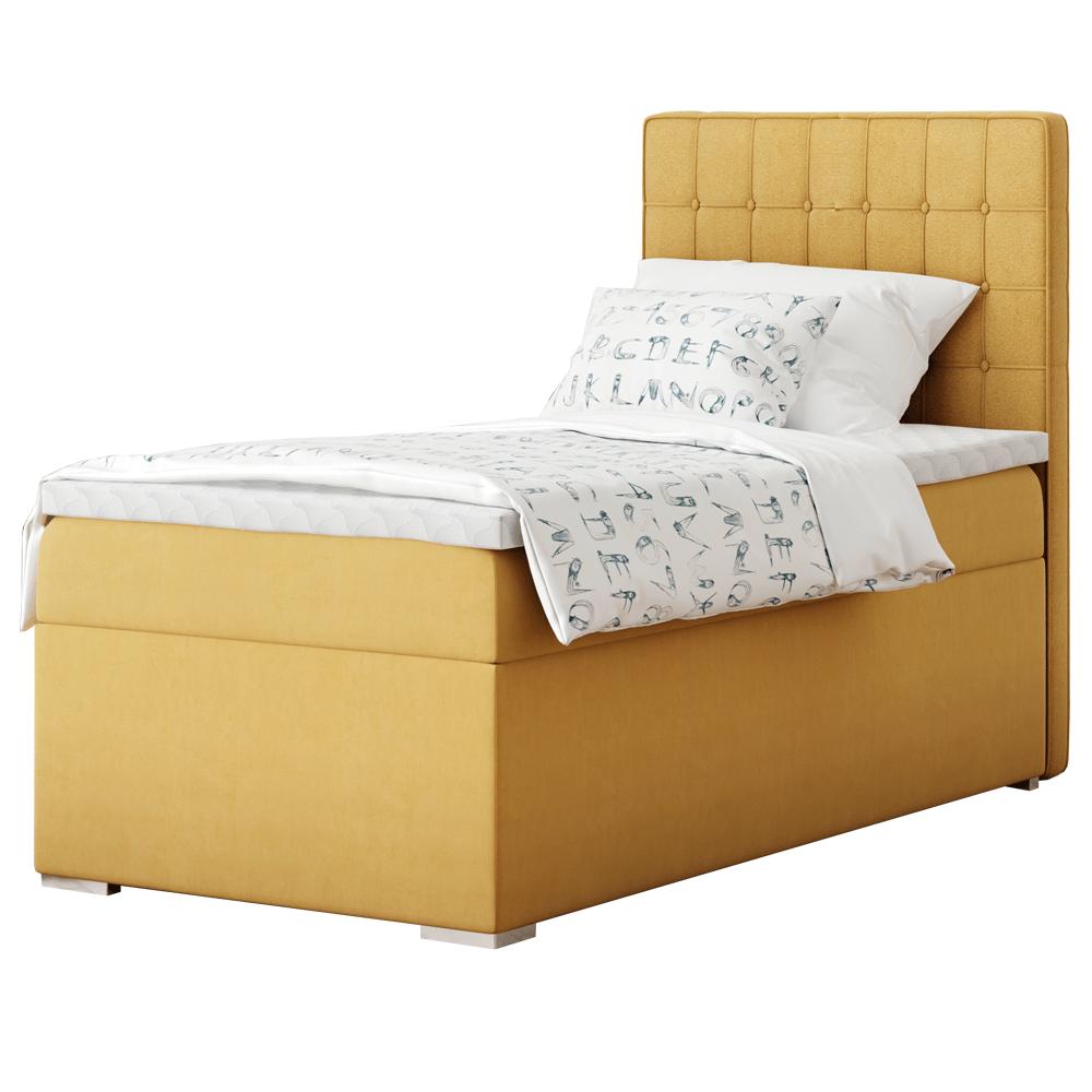 Boxspring ágy, egyszemélyes, mustár színű, 90x200, jobbos, TERY