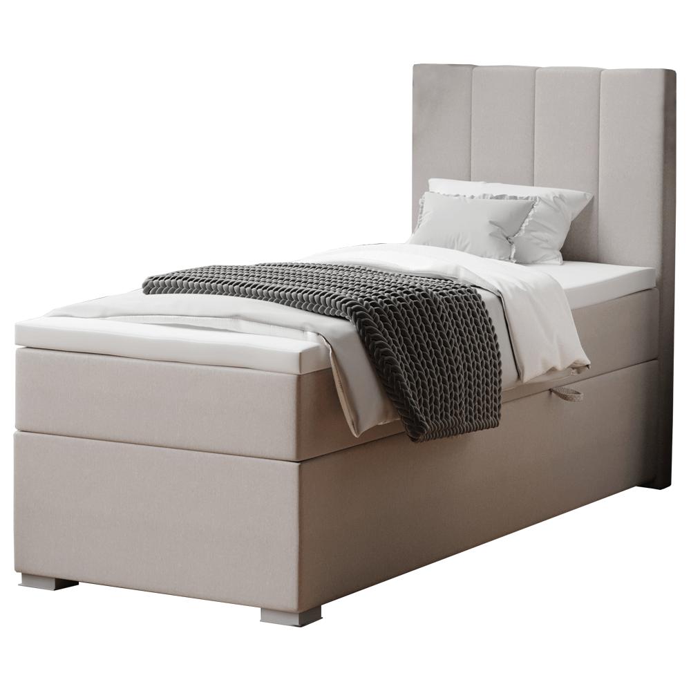 Boxspring ágy, egyszemélyes, taupe, 90x200, jobbos, BRED