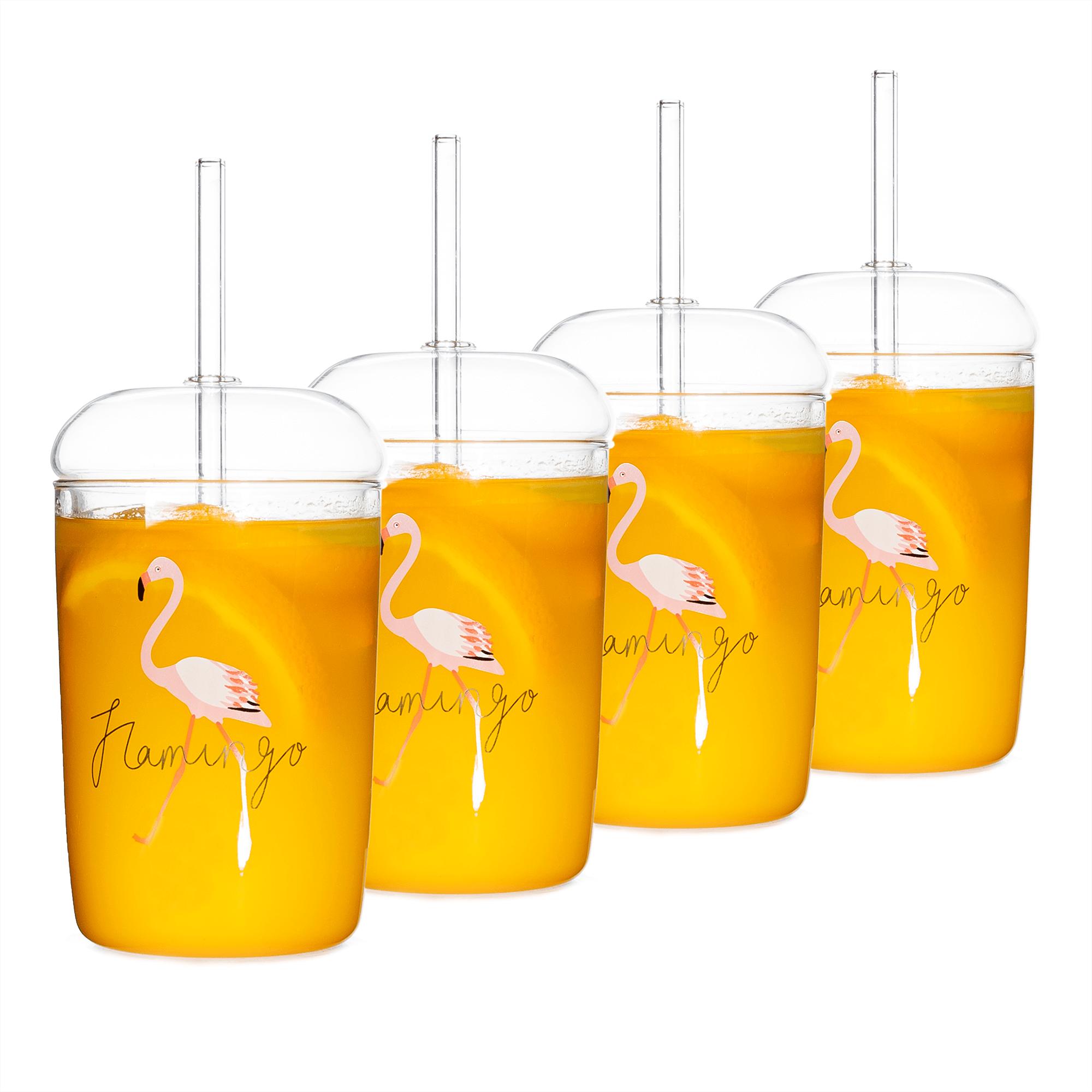 Thermo pohár italokhoz, fedővel és szívószállal, 4 db. szett, 250ml, HOTCOOL TYP 7