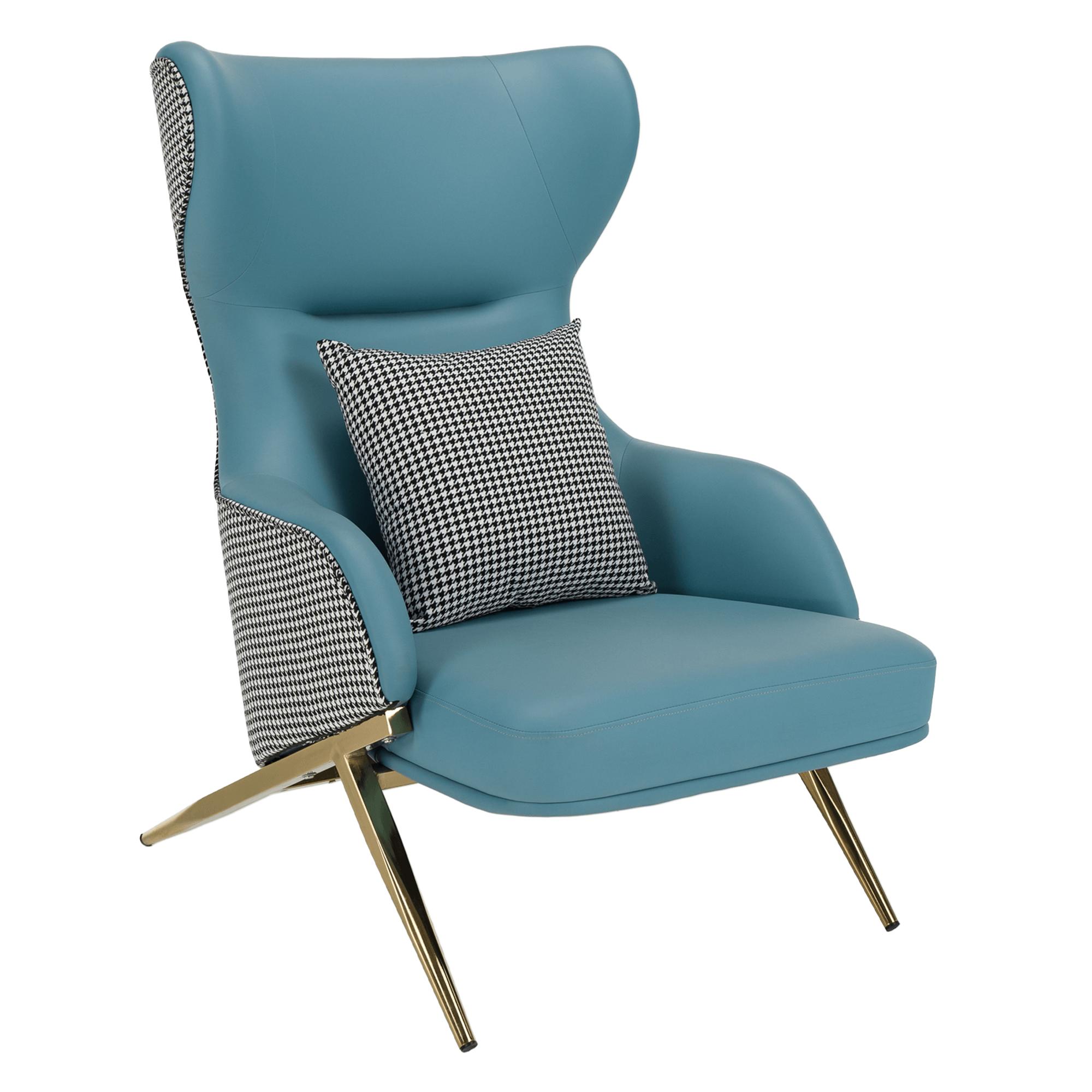 Dizájnos luxus fotel, mentol/mintás Pepito, ekobőr, ARTES