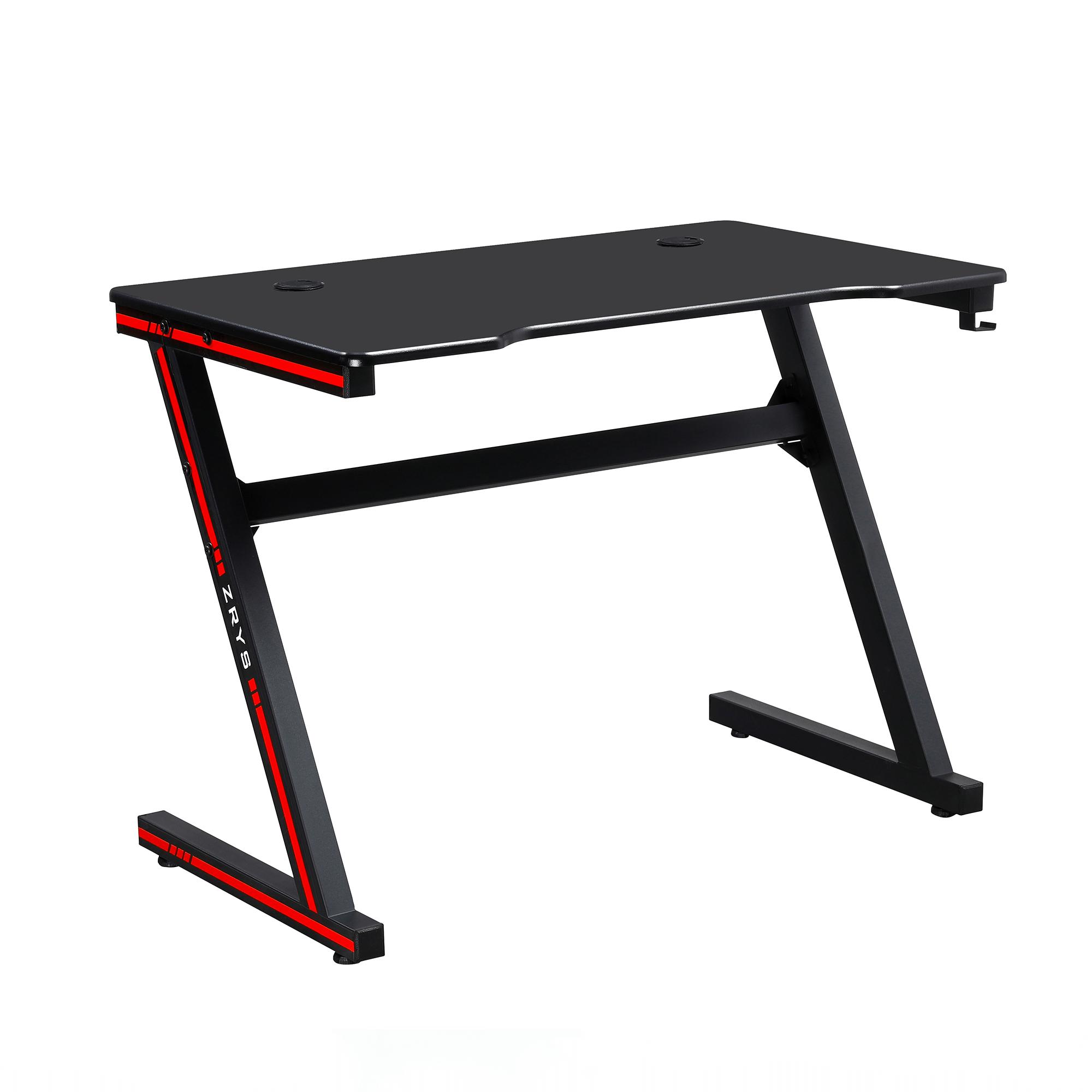 Herný stôl/počítačový stôl, čierna/červená, MACKENZIE 100cm