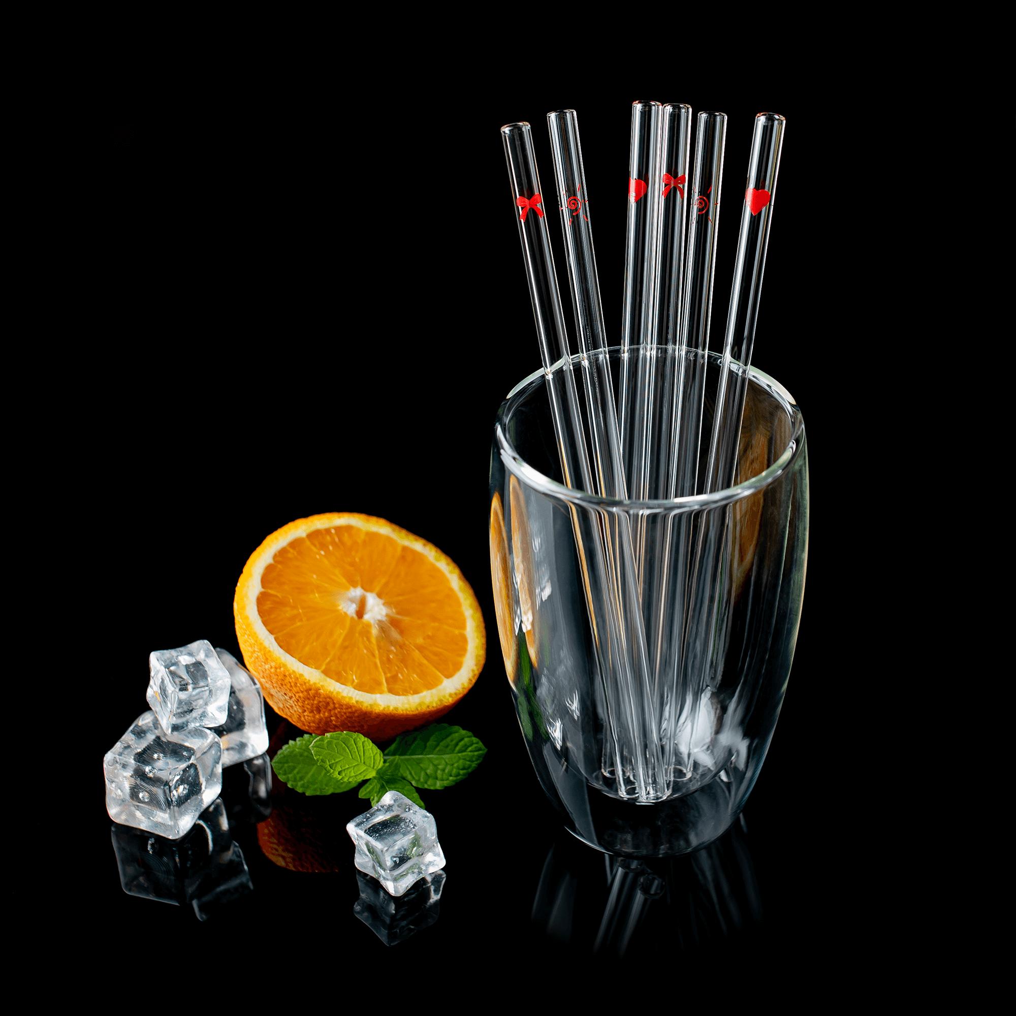 Set de 6 paie de sticlă + perie, transparent / model, HOTCOLD TIP 18
