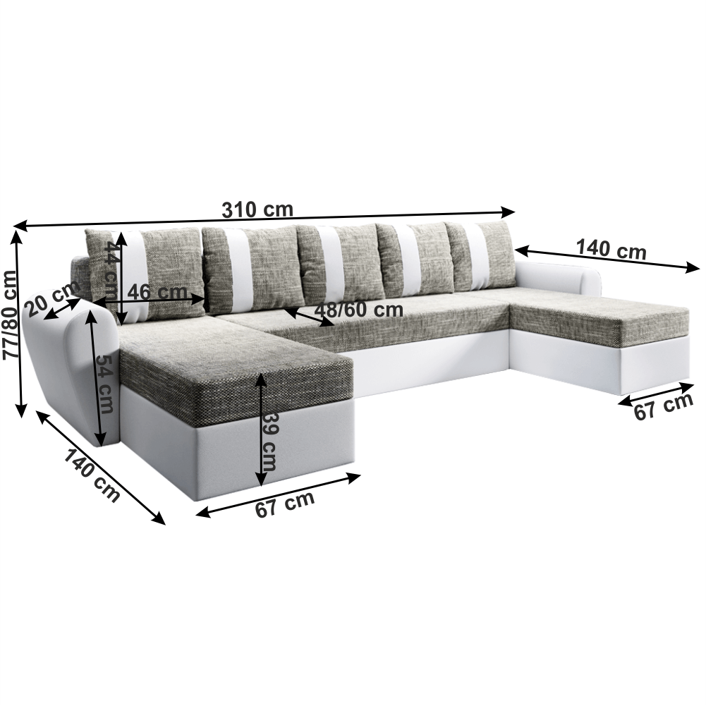 Univerzális ülőgarnitúra, fehér/szürkésbarna, LUNY ROH U