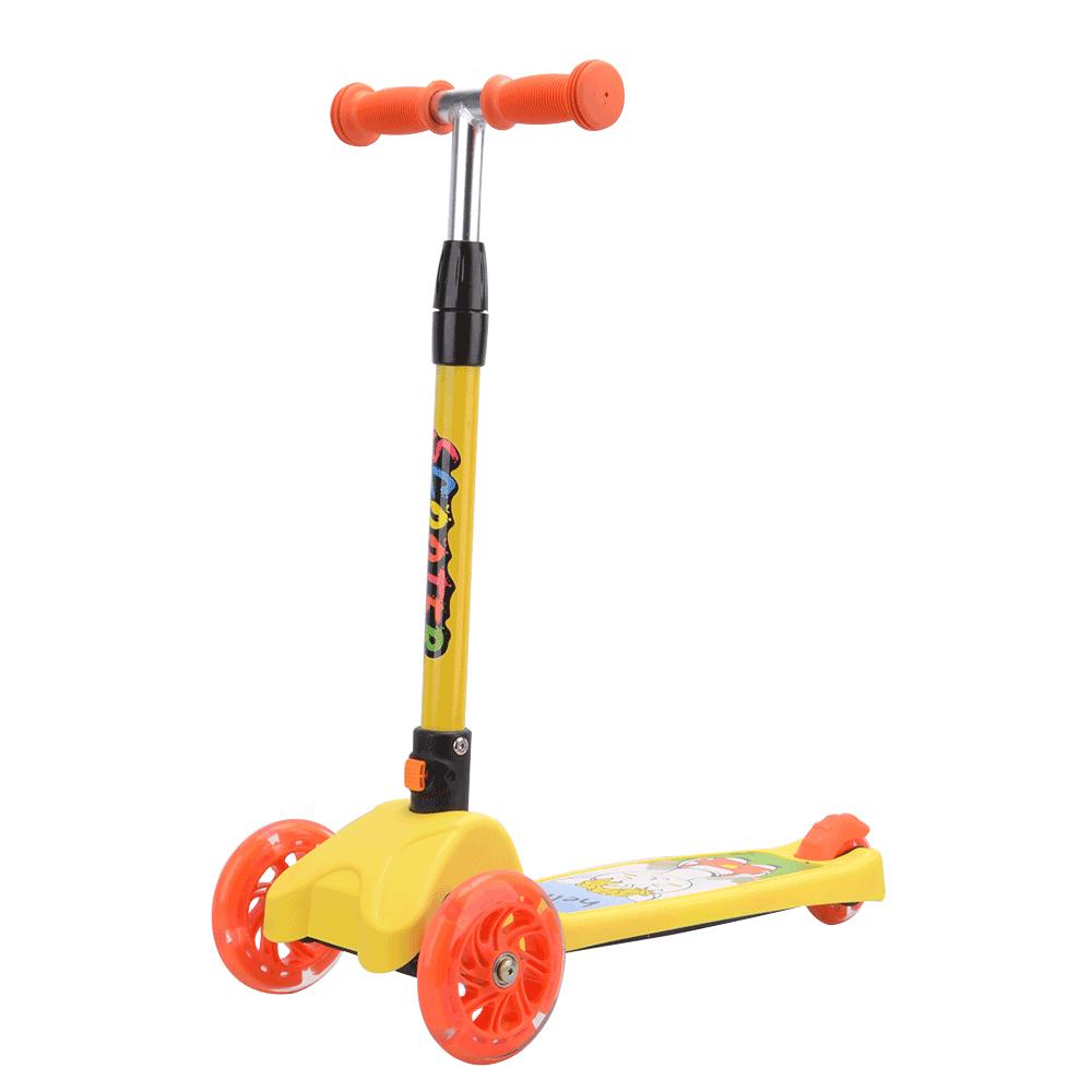 Trotinetă pentru copii, roţi cu LED, aluminiu / plastic, galben / portocaliu, LAOMA