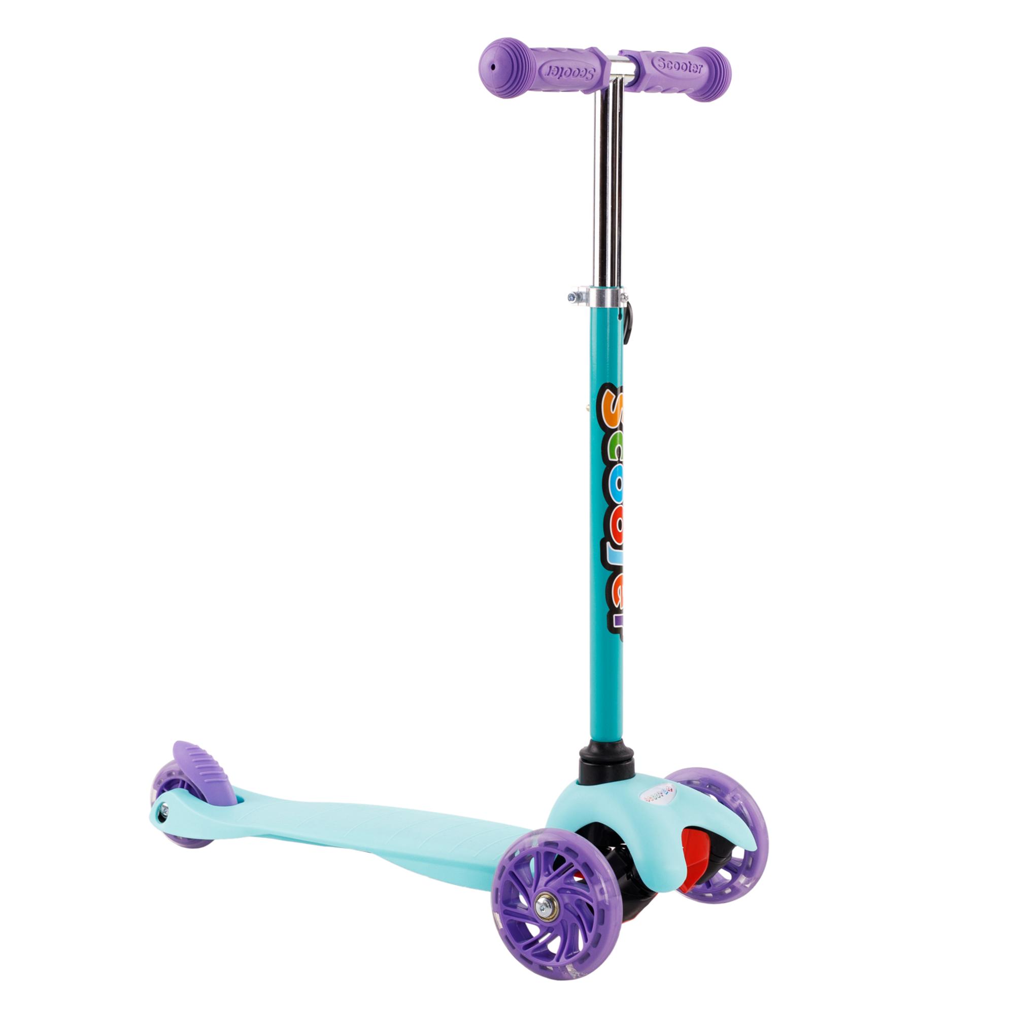 Trotinetă pentru copii, roți cu LED, turcoaz / violet, TESIA TIP 2