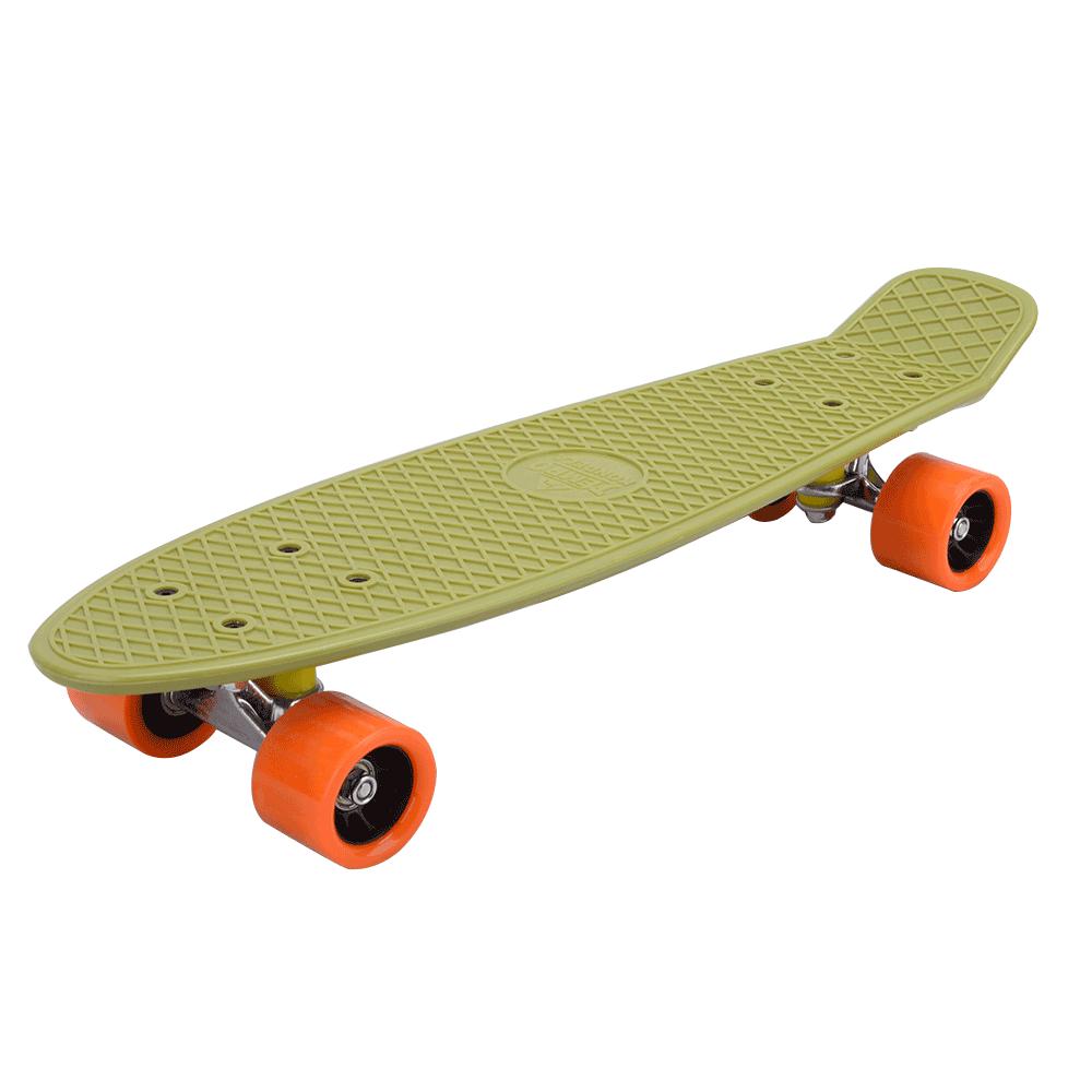 Penny board, verde militar / portocaliu, TESAL