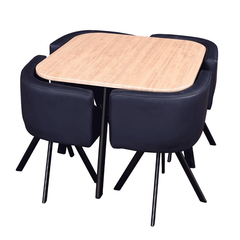 Set masă cu scaune 1 + 4, stejar / negru, BEVIS