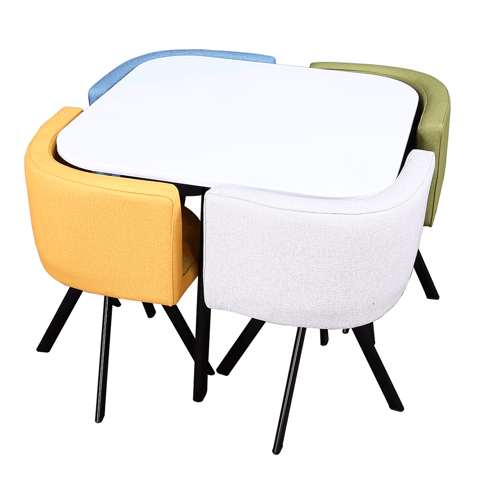 Set masă cu scaune 1 + 4, alb / mix de culori, BEVIS