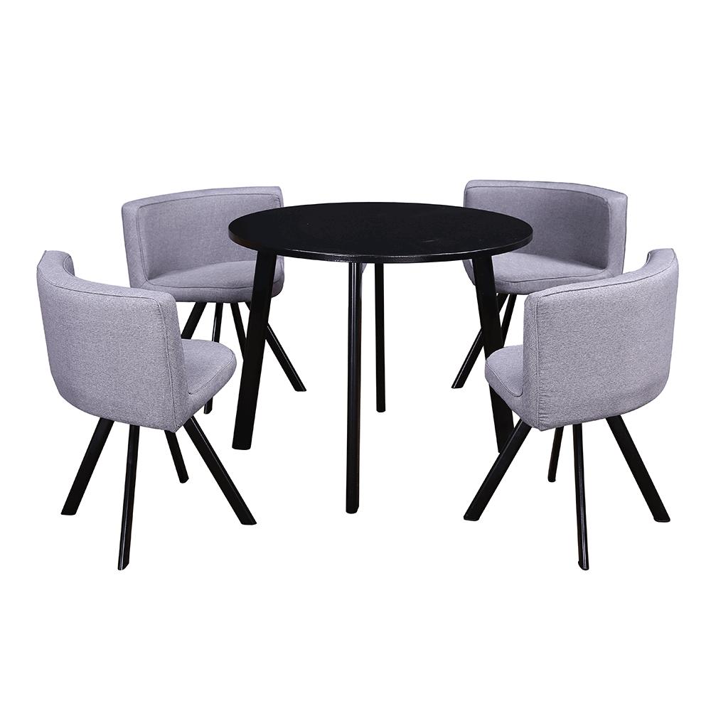 Set masă cu scaune 1 + 4, negru / gri deschis, BEVAN