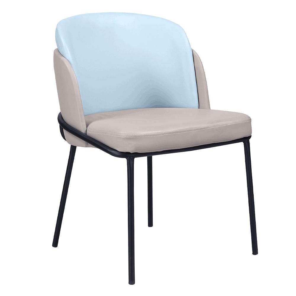 Dizájn fotel, bézs/kék, ekobőr, GANON
