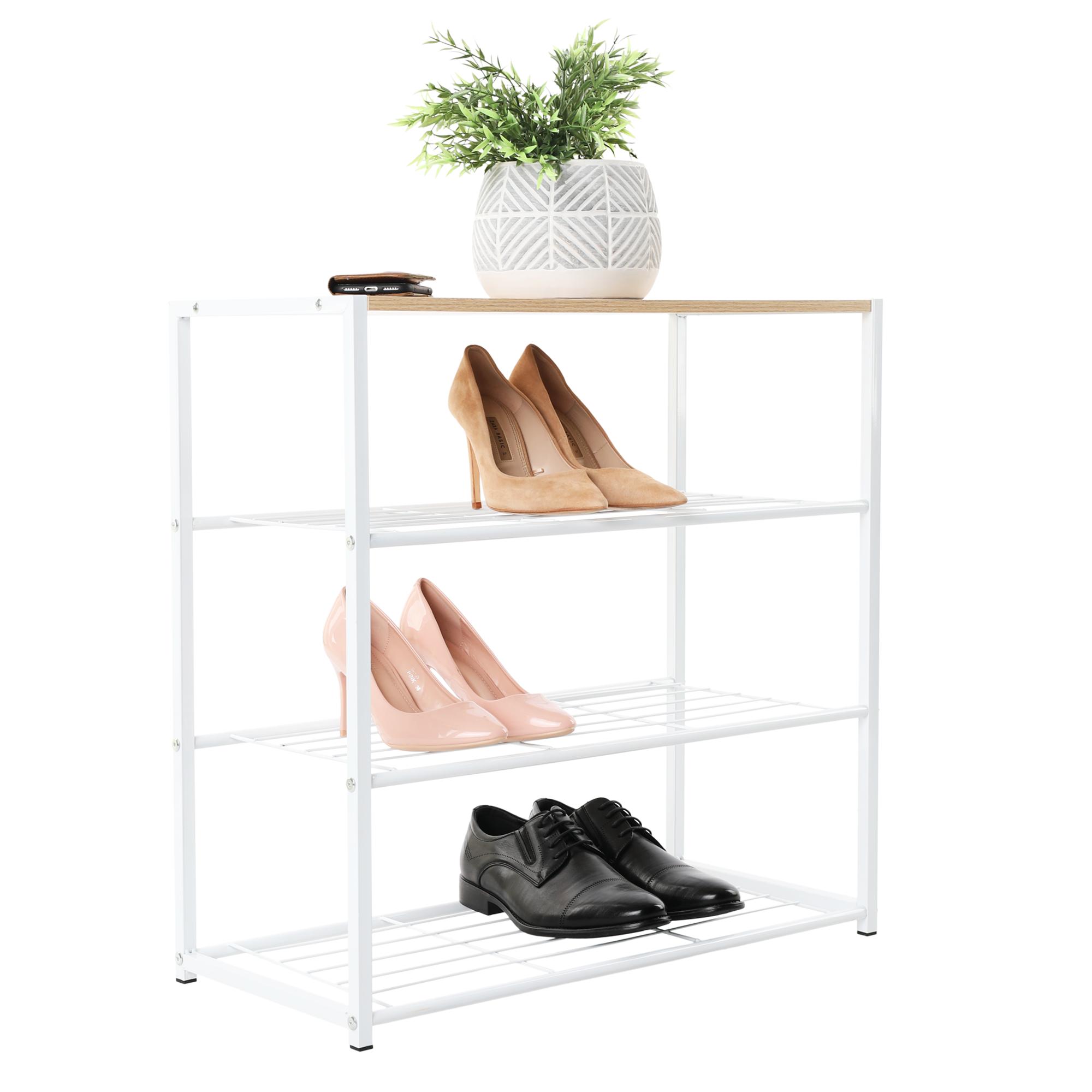 Cutie pentru pantofi, cu 3 rafturi, alb / stejar, LINDEN TIP 1