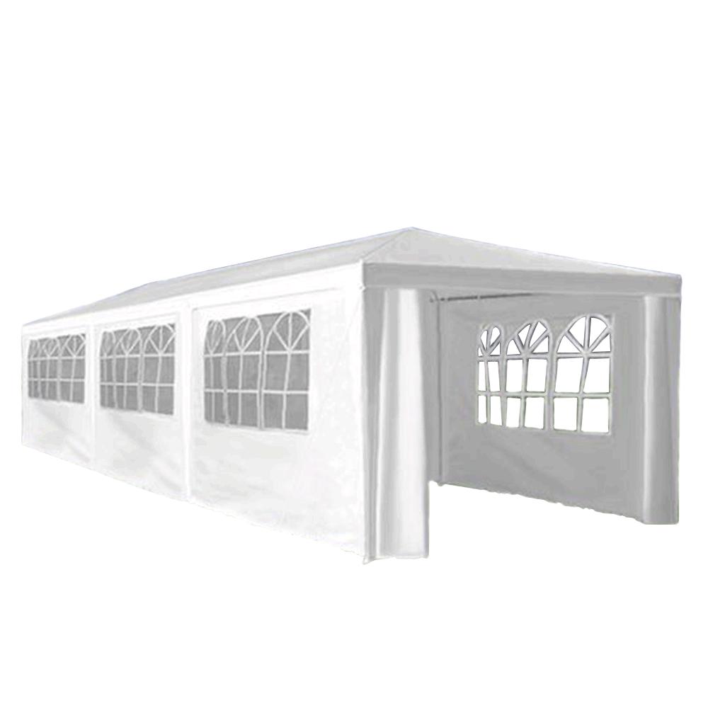 Záhradný párty stan, biela, 3x9 m, TEKNO TYP 3 + 8 bočných strán