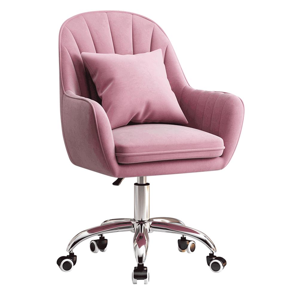 Scaun de birou, țesătură de catifea roz / crom, KLIAN