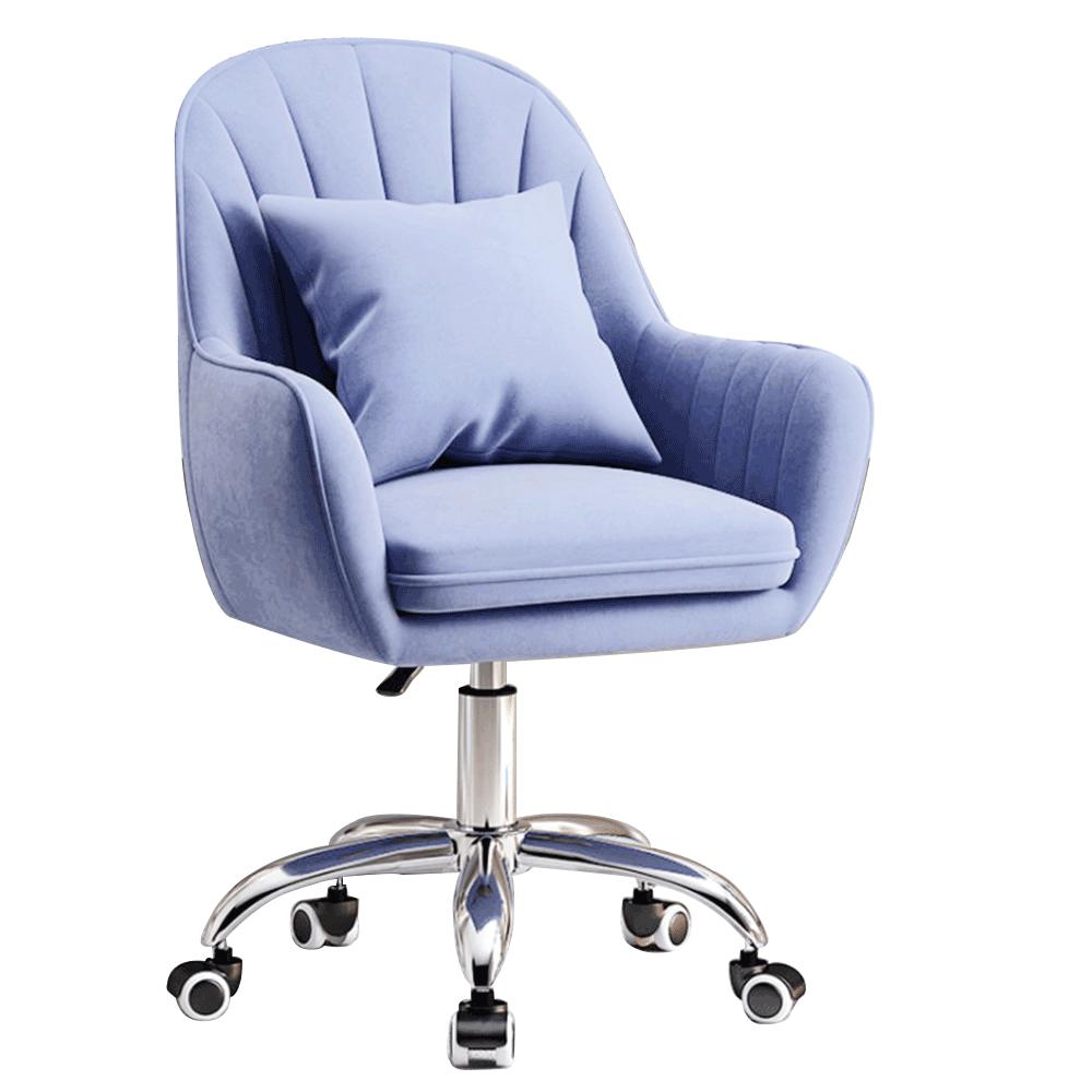 Scaun de birou, țesătură de catifea albastră / crom, KLIAN