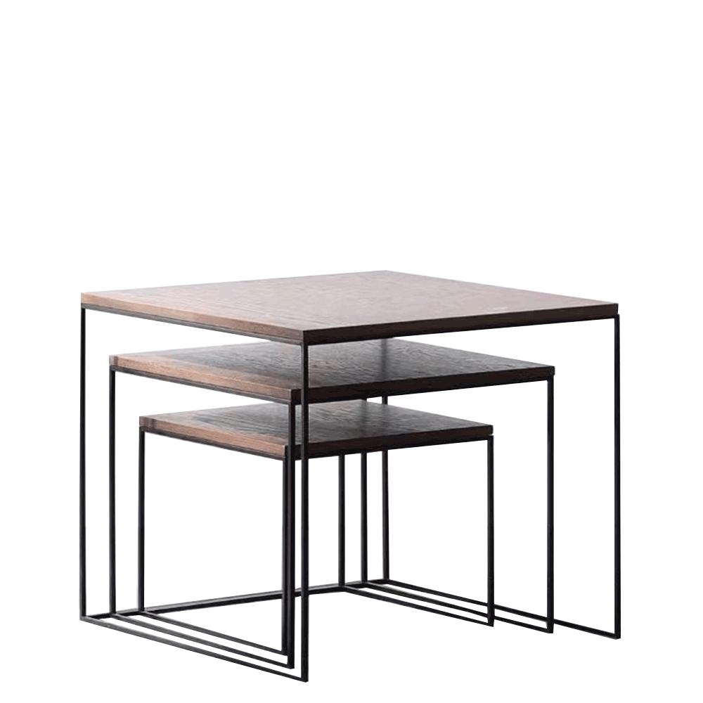 Konferenčné stolíky, set 3 ks, orech/čierna, DVEIN