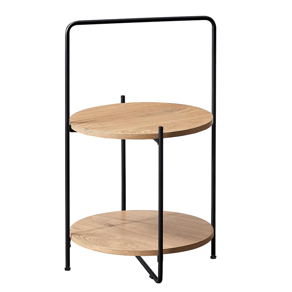 Príručný stolík, dub/čierna, EMRIO